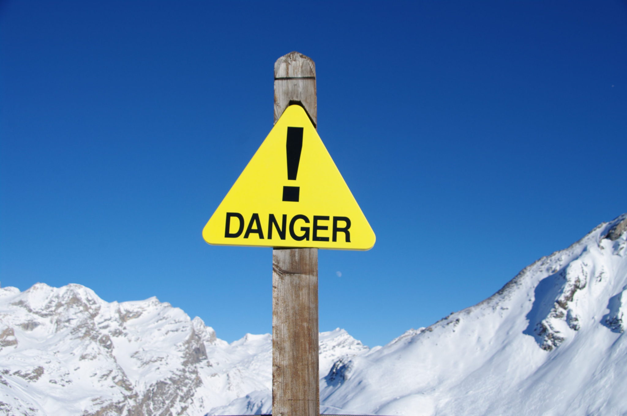 Danger Sign Post in Ski Resort