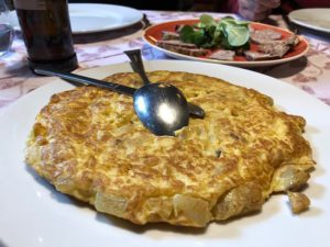 Delicious Spanish vegetarian tortilla in baqueira. Era caseta deth Mestre.